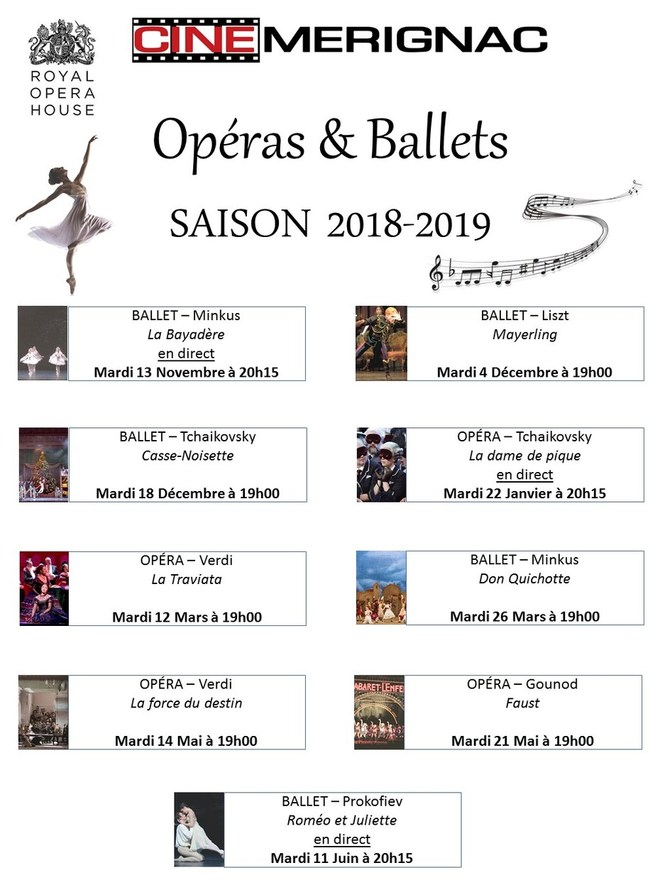 Saison Opéras&Ballets 2018-2019