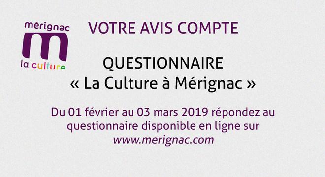 """QUESTIONNAIRE """"La Culture à Mérignac"""""""