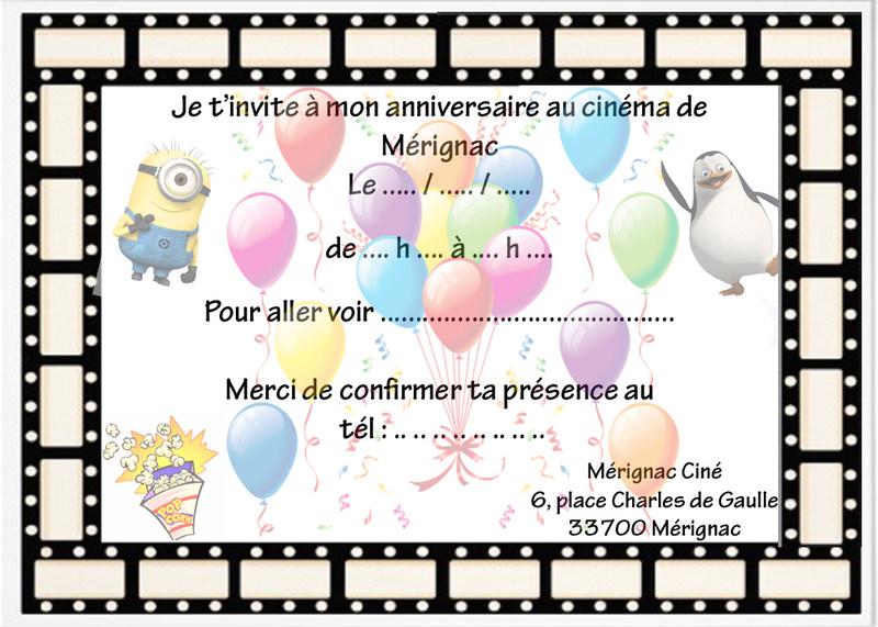 anniversaire cinema invitation